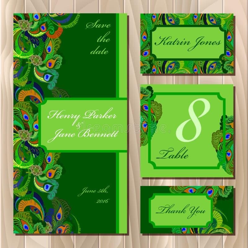 Pfau versieht Hochzeitskartensatz mit Federn Bedruckbare Vektorillustration stock abbildung