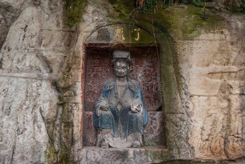 Pfauhöhlenschreine Anyue-Grafschaft, Sichuan-Provinz, außerhalb des Tempels auf der Klippe lizenzfreies stockbild