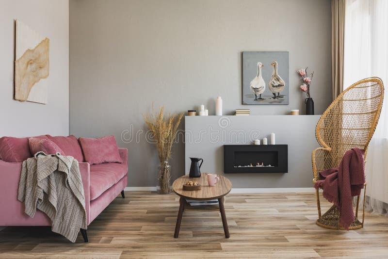 Pfaustuhl mit Decke im grauen Wohnzimmer Innen mit rosa Pastellcouch und Couchtisch stockbild