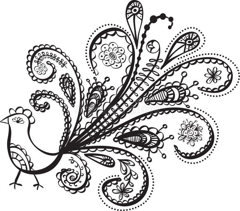 Pfauvogelzeile Kunst lizenzfreie abbildung