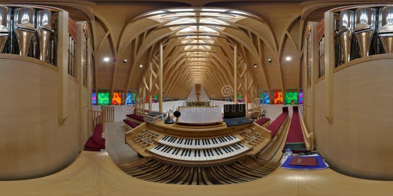 Pfeifenorgel-Konsole im Heiligen Joseph Catholic Church, ZetevÃ-¡ ralja (Vor-Cetate), Rumänien stockfoto