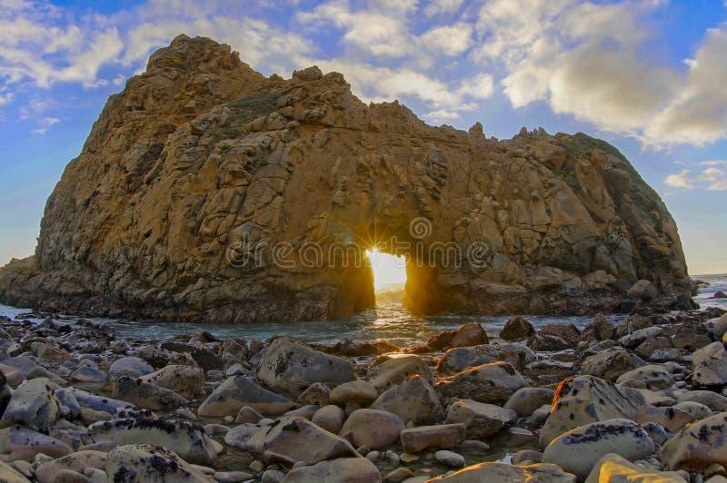 Pfeiffer plaży Keyhole skała zdjęcie stock