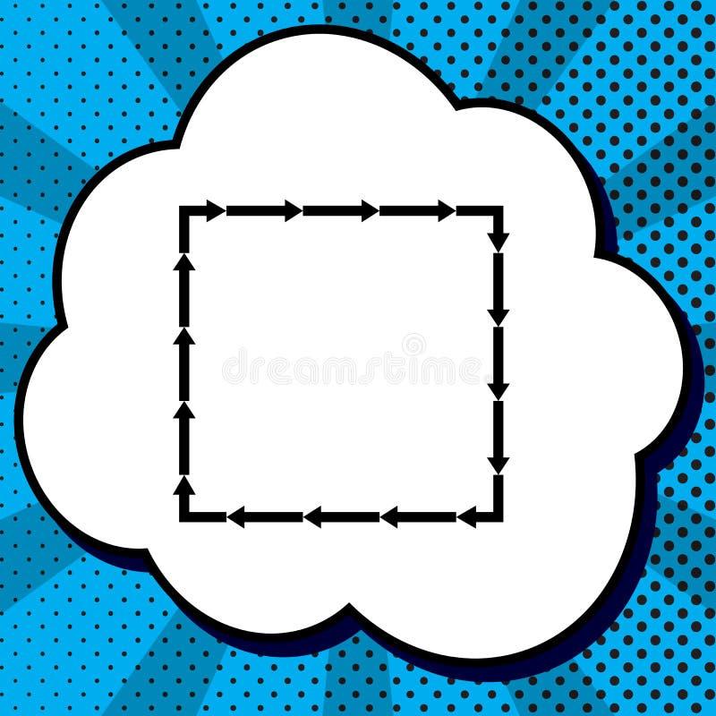 Pfeil auf einer quadratischen Form Vektor Schwarze Ikone in der Blase auf blauem PO lizenzfreie abbildung