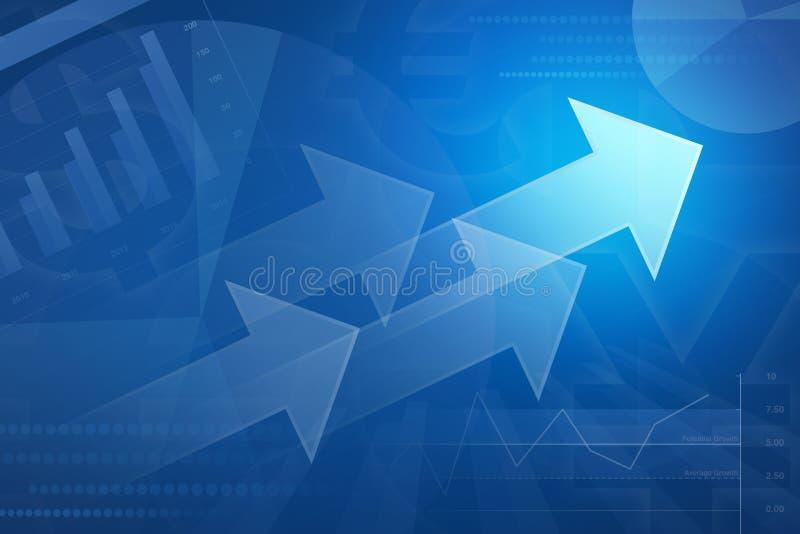 Pfeil auf Finanzdiagramm und Diagramm für Geschäftshintergrund lizenzfreie abbildung