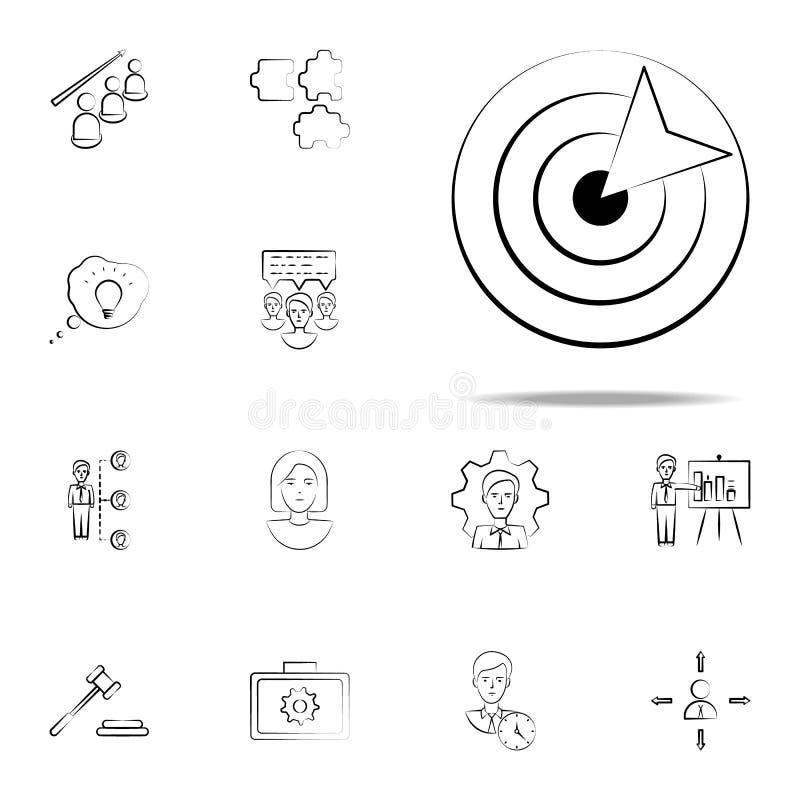 Pfeil, Bullauge, Geschäftshandgezogene Ikone Geschäftsikonen-Universalsatz für Netz und Mobile vektor abbildung