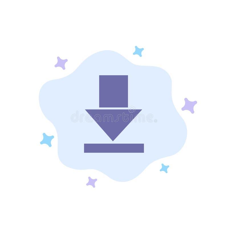 Pfeil, Dämmerung, Download-blaue Ikone auf abstraktem Wolken-Hintergrund lizenzfreie abbildung