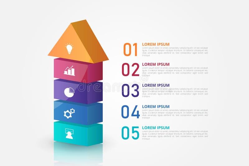 Pfeil 3D Infographics-Schablone für Geschäft, Bildung, Webdesign, Fahnen, Broschüren, Flieger stock abbildung