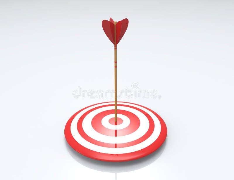Pfeil, der ein Ziel, auf weißem Hintergrund schlägt lizenzfreie abbildung