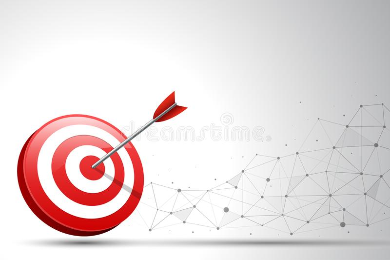 Pfeil, der einen Zielpfeil im Verbindungspunkt und in der Linie Hintergrund schlägt Konzept für zielgruppenorientiertes Marketing lizenzfreie abbildung