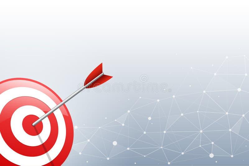 Pfeil, der einen Zielpfeil im Verbindungspunkt und in der Linie Hintergrund schlägt Konzept für zielgruppenorientiertes Marketing stock abbildung