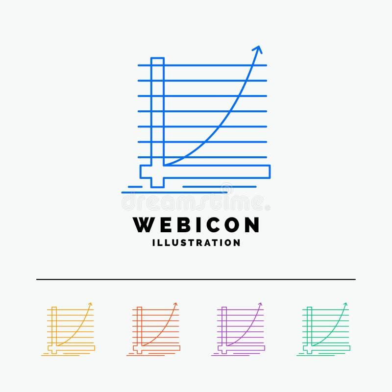 Pfeil, Diagramm, Kurve, Erfahrung, Ziel 5 Farblinie-Netz-Ikonen-Schablone lokalisiert auf Weiß Auch im corel abgehobenen Betrag lizenzfreie abbildung