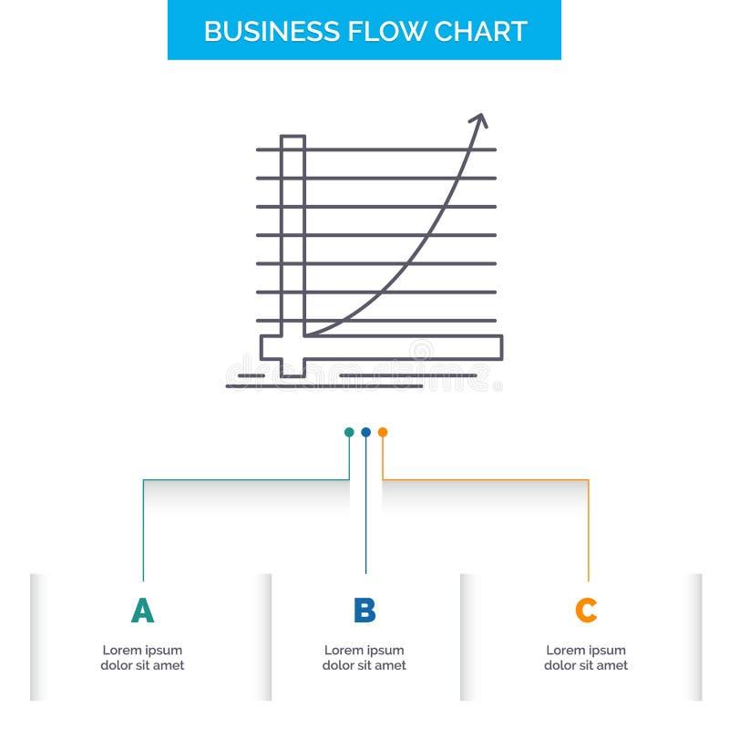 Pfeil, Diagramm, Kurve, Erfahrung, Ziel Geschäfts-Flussdiagramm-Entwurf mit 3 Schritten r vektor abbildung