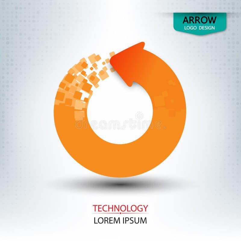 Pfeil digital und runde Form des Logodesigns lizenzfreie abbildung