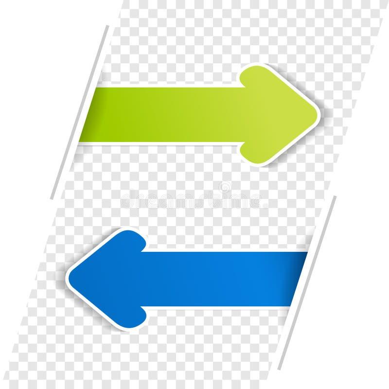 Pfeil-Fahnen Grüner und blauer Pfeil auf dem Transparenz bacground stock abbildung