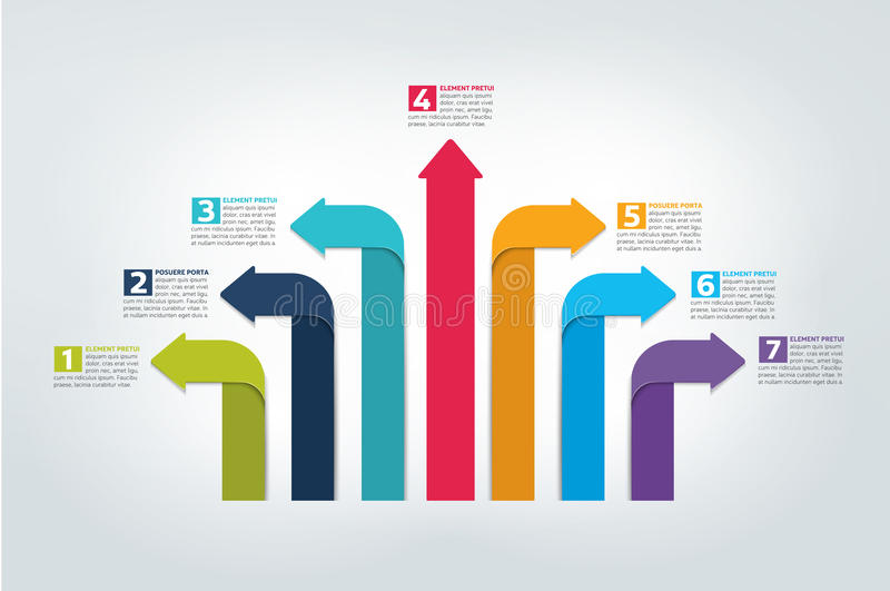 Pfeil infographics Entwurf, Diagramm, Diagramm, Flussdiagramm stock abbildung