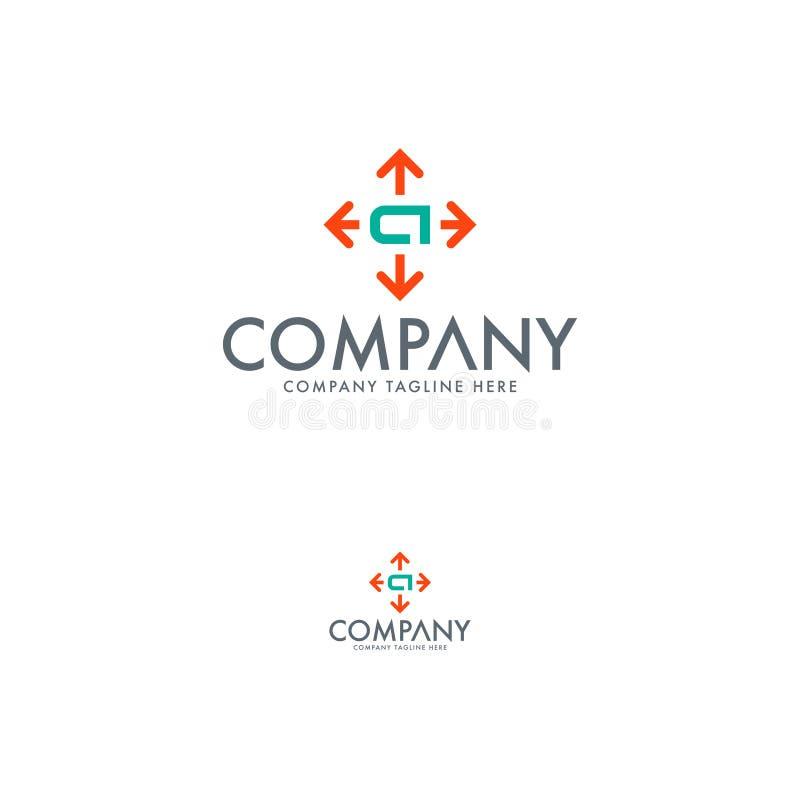 Pfeil-, Kompass- und Buchstabea Logoentwurfsschablone lizenzfreie abbildung