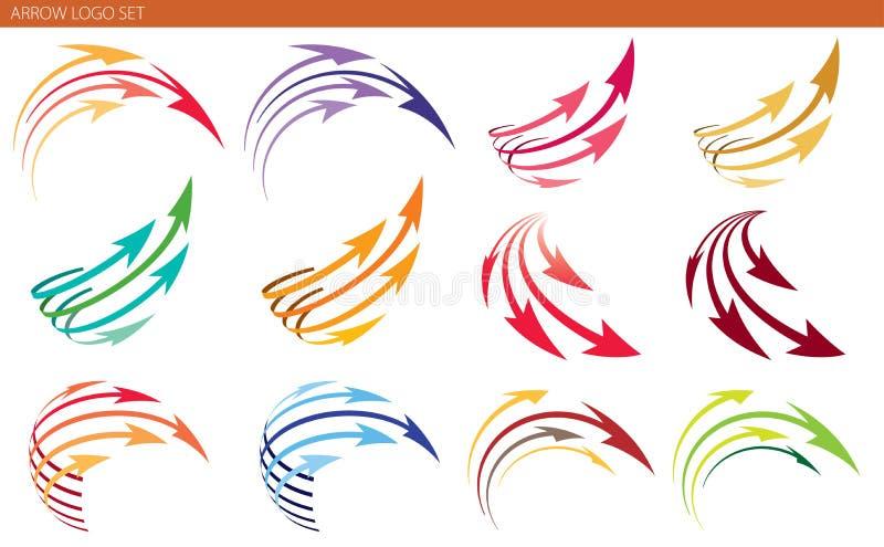 Pfeil Logo Set lizenzfreie abbildung
