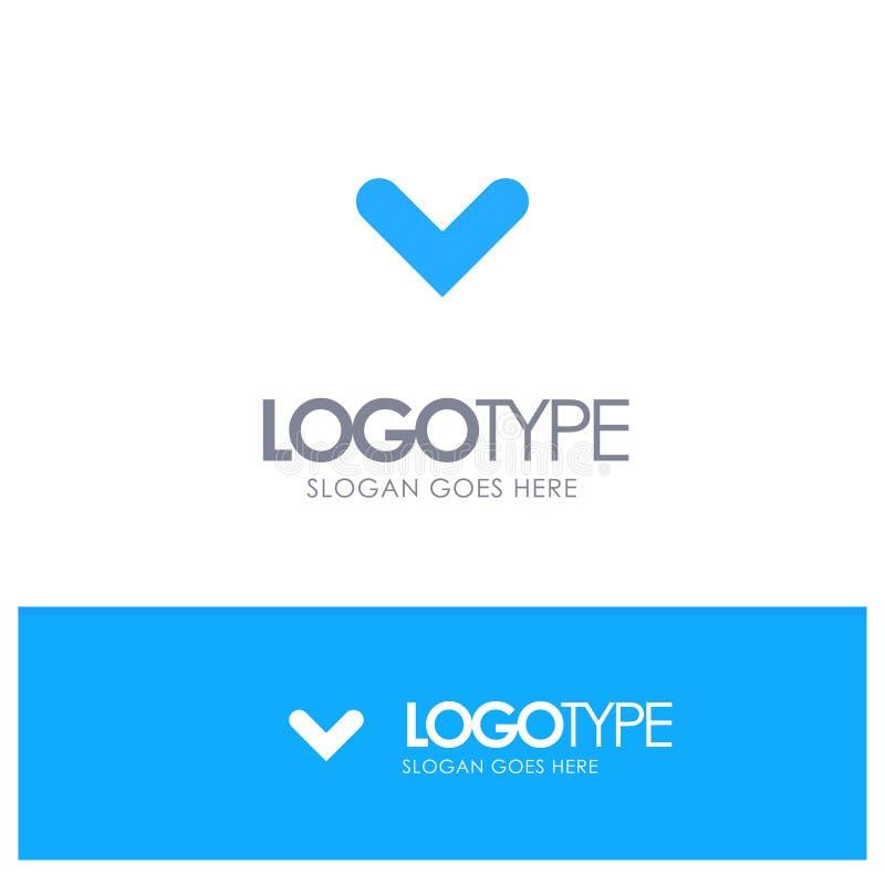 Pfeil, Pfeile, Richtung, hinunter blaues festes Logo mit Platz für Tagline lizenzfreie abbildung