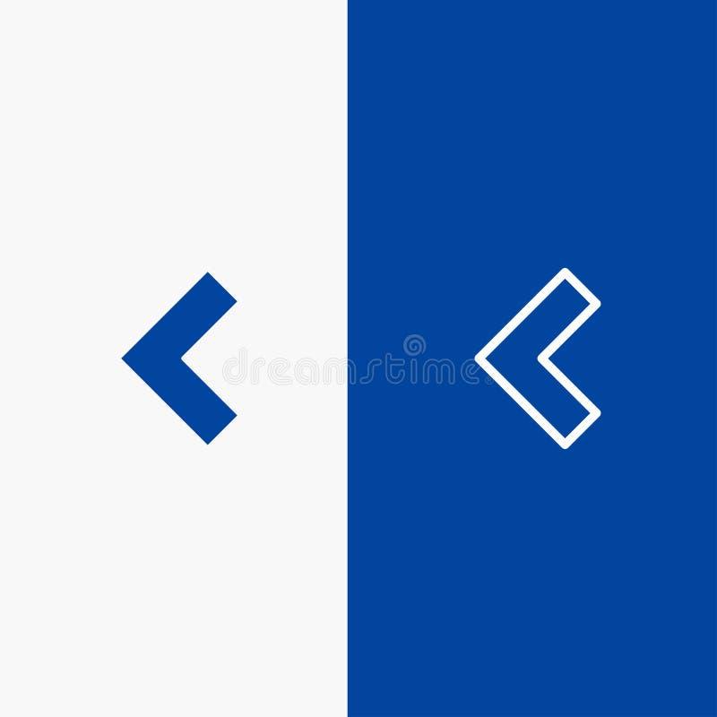 Pfeil, Rückseite, blaue Fahne der blauen Fahne der linken Ikone der Linie und des Glyph festen Ikone Linie und Glyph festen stock abbildung