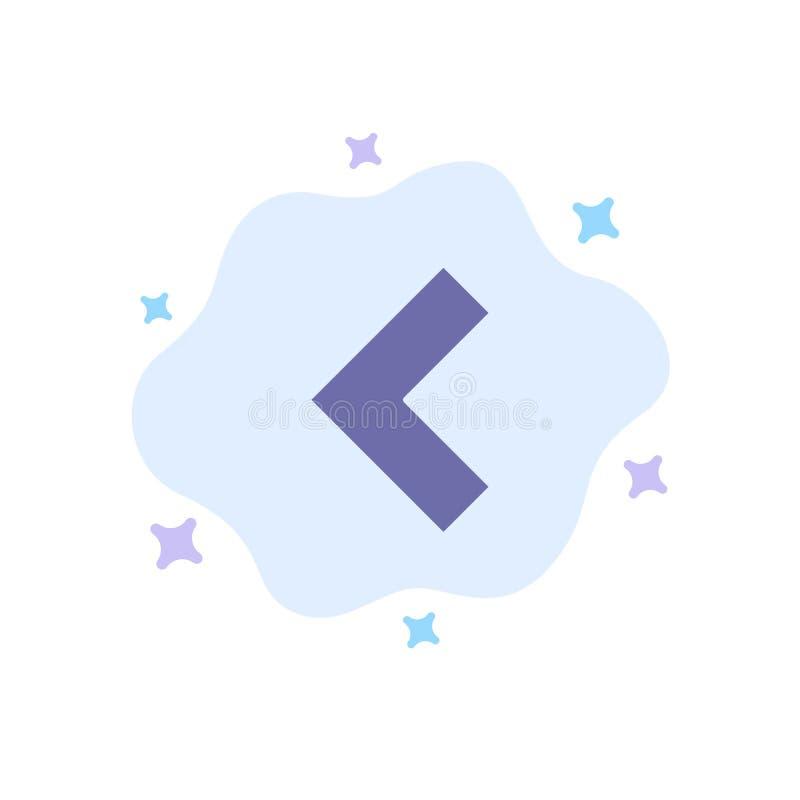 Pfeil, Rückseite, linke blaue Ikone auf abstraktem Wolken-Hintergrund vektor abbildung