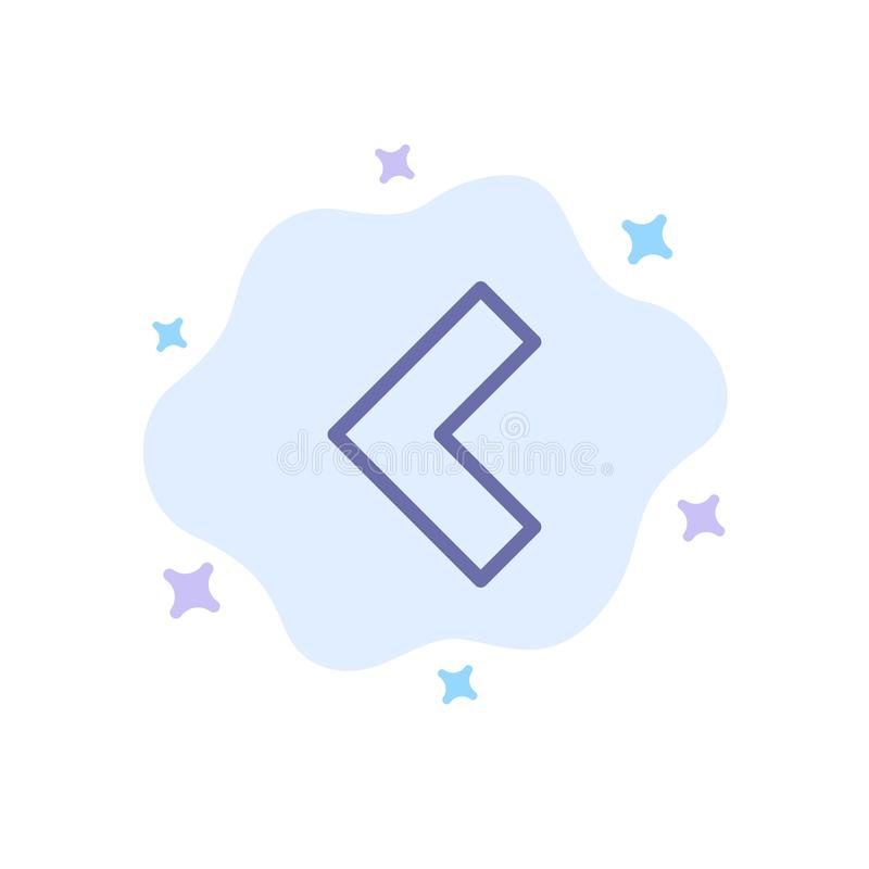 Pfeil, Rückseite, linke blaue Ikone auf abstraktem Wolken-Hintergrund stock abbildung