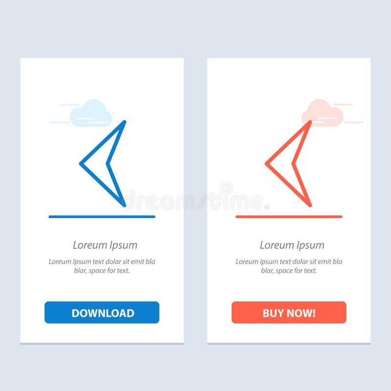 Pfeil, Rückseite, Zeichen-Blau und rotes Download und Netz Widget-Karten-Schablone jetzt kaufen lizenzfreie abbildung