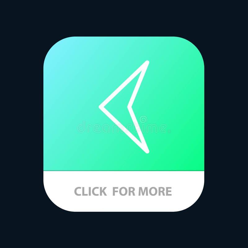 Pfeil, Rückseite, Zeichen mobiler App-Knopf Android und IOS-Linie Version lizenzfreie abbildung