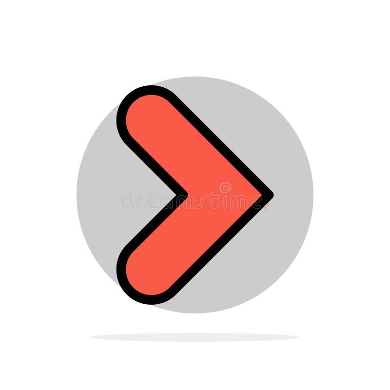 Pfeil, Recht, Vorwärts, flache Ikone Farbe des Richtungs-Zusammenfassungs-Kreis-Hintergrundes lizenzfreie abbildung