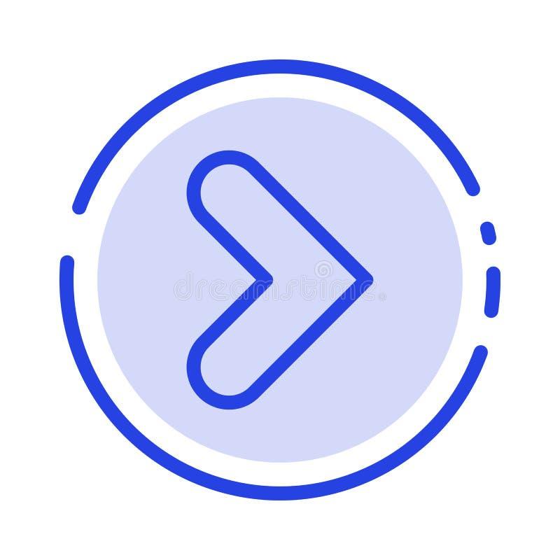 Pfeil, Recht, Vorwärts, Linie Ikone der Richtungs-blauen punktierten Linie lizenzfreie abbildung