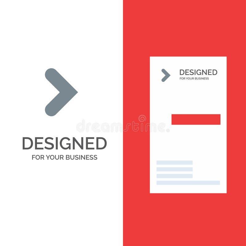 Pfeil, Recht, Vorwärts, Richtung Grey Logo Design und Visitenkarte-Schablone stock abbildung
