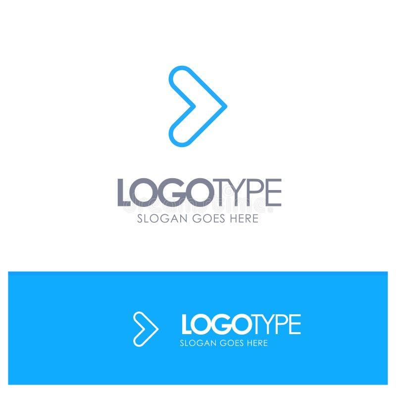 Pfeil, Recht, Vorwärts, Richtungs-blauer Entwurf Logo Place für Tagline stock abbildung