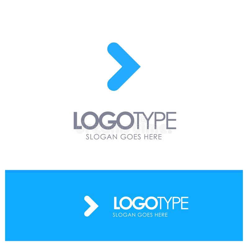 Pfeil, Recht, Vorwärts, Richtungs-blaues festes Logo mit Platz für Tagline vektor abbildung