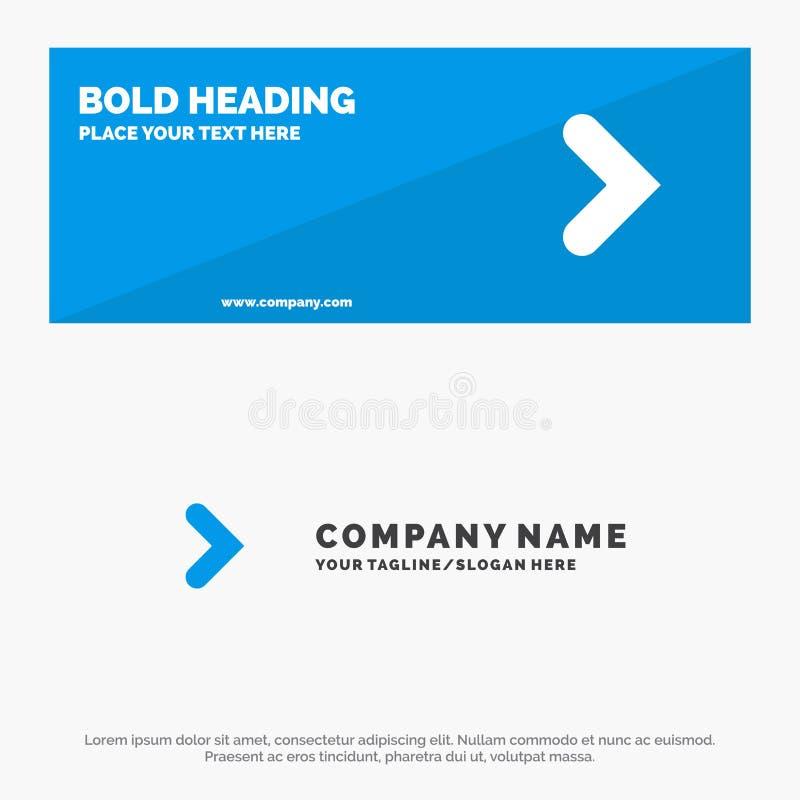 Pfeil, Recht-, Vorwärts-, Richtungs-feste Ikonen-Website-Fahne und Geschäft Logo Template lizenzfreie abbildung