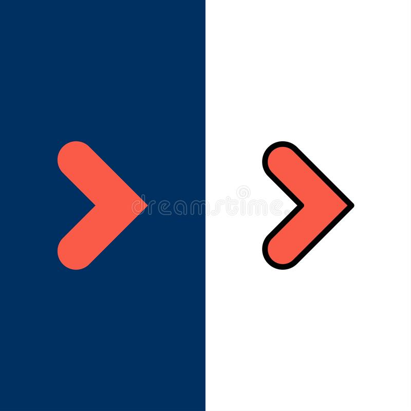 Pfeil, Recht, Vorwärts, Richtungs-Ikonen Ebene und Linie gefüllte Ikone stellten Vektor-blauen Hintergrund ein lizenzfreie abbildung