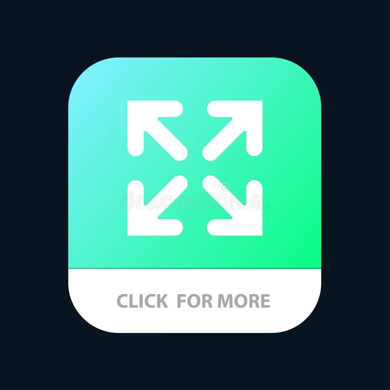 Pfeil, Richtung, Bewegung mobiler App-Knopf Android und IOS-Glyph-Version vektor abbildung