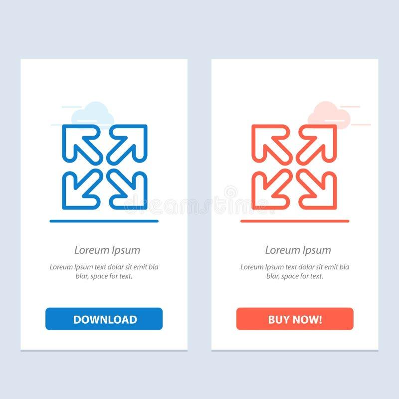 Pfeil, Richtung, Bewegungs-Blau und rotes Download und Netz Widget-Karten-Schablone jetzt kaufen vektor abbildung