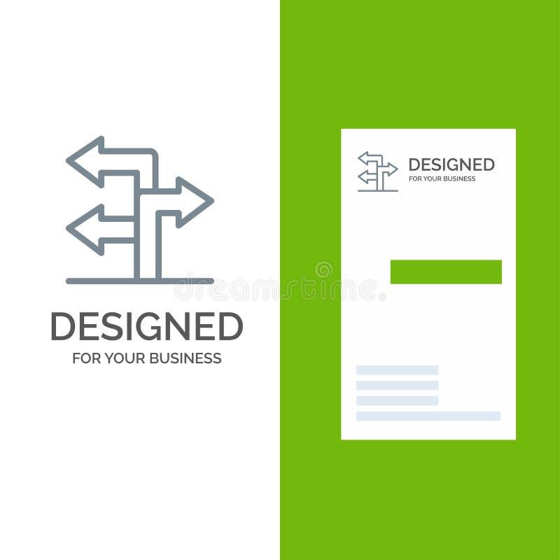 Pfeil, Richtung, Navigation Grey Logo Design und Visitenkarte-Schablone stock abbildung