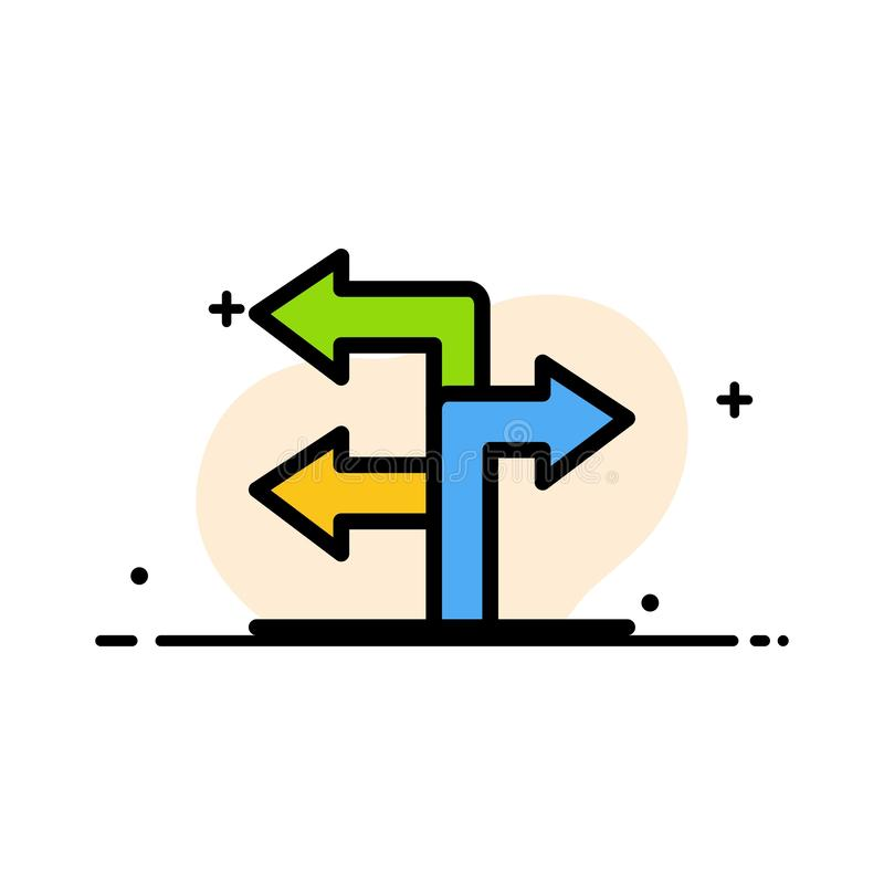 Pfeil, Richtung, Navigations-Geschäfts-flache Linie füllte Ikonen-Vektor-Fahnen-Schablone vektor abbildung