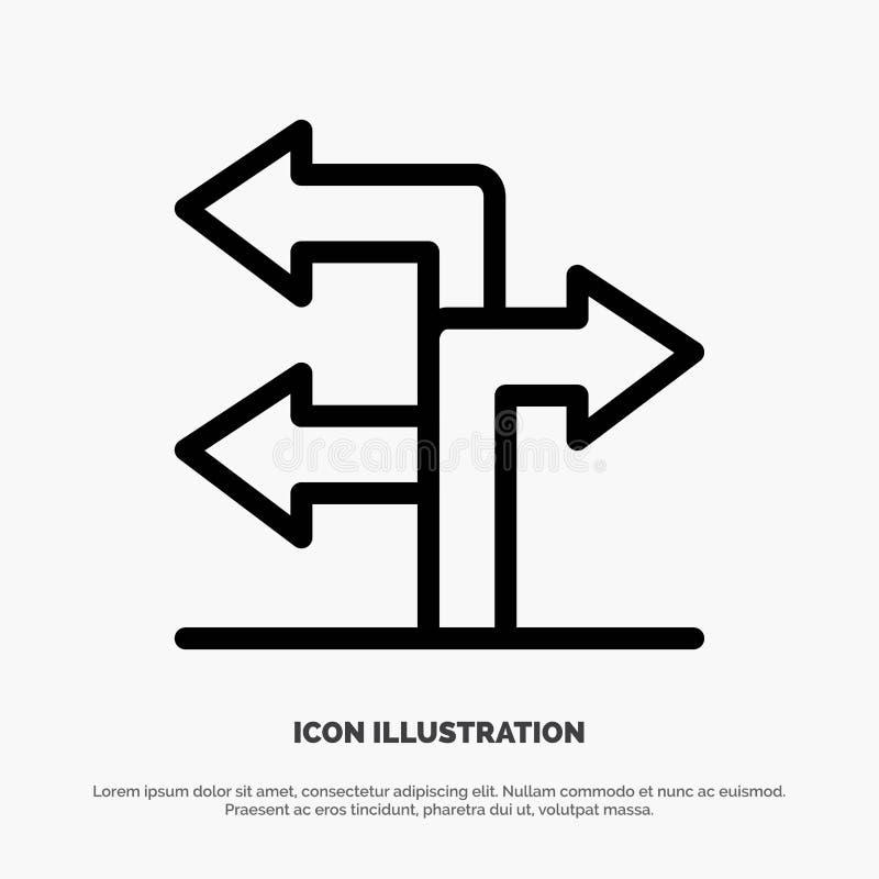 Pfeil, Richtung, Navigations-Linie Ikonen-Vektor stock abbildung