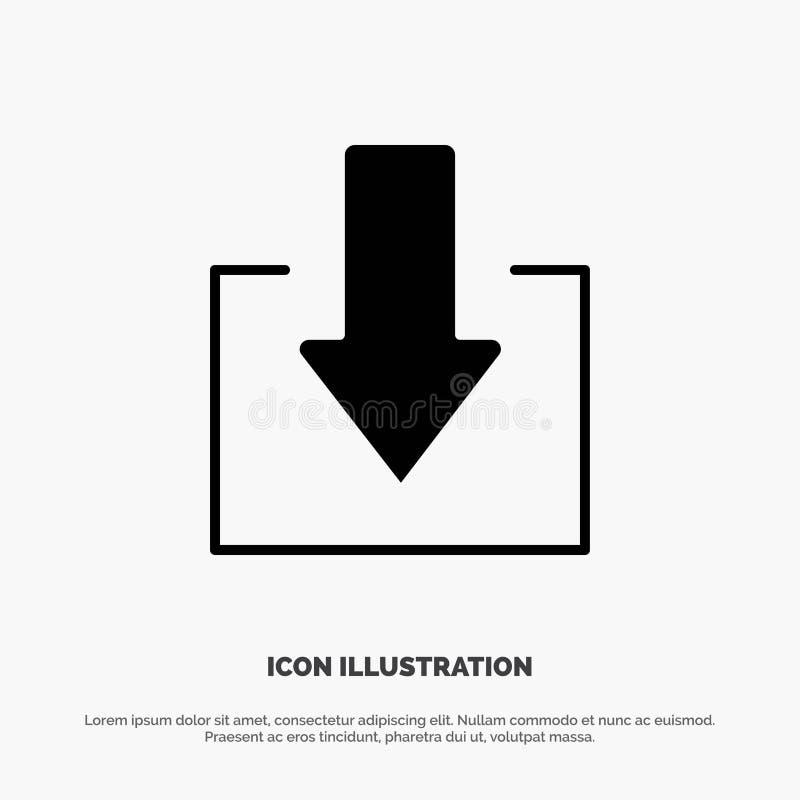 Pfeil unten Download fester Glyph-Ikonenvektor stock abbildung