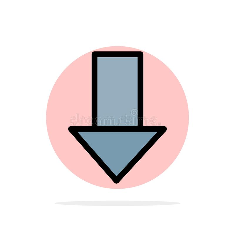 Pfeil unten hinunter Pfeil, flache Ikone Farbe des Richtungs-Zusammenfassungs-Kreis-Hintergrundes lizenzfreie abbildung