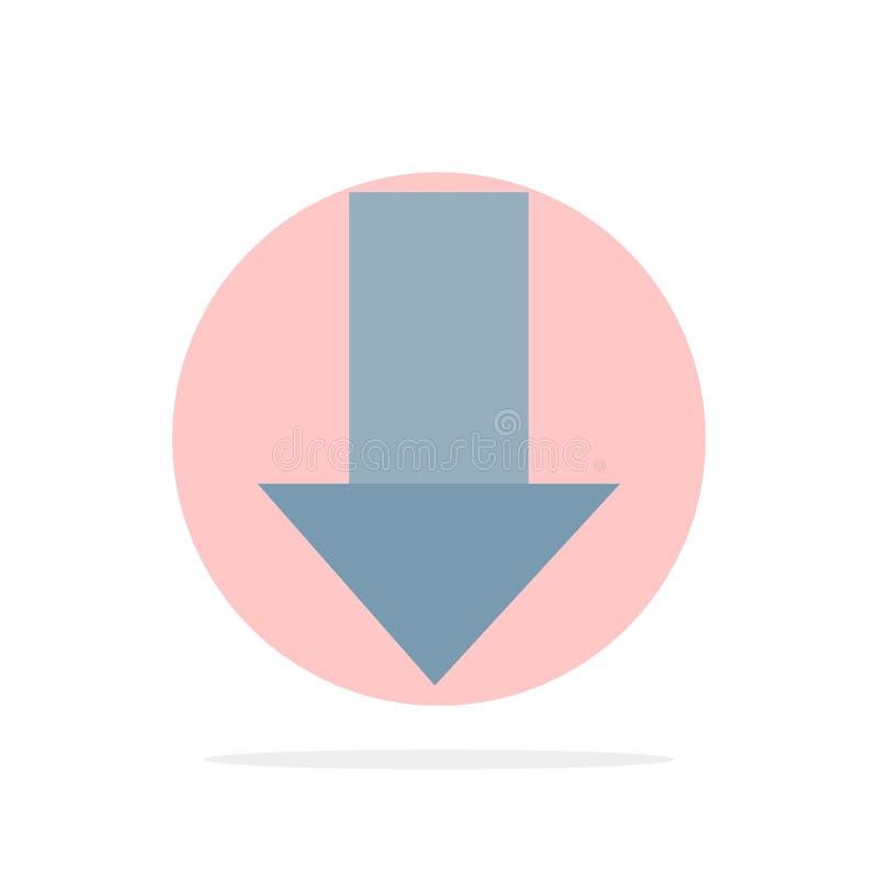 Pfeil unten hinunter Pfeil, flache Ikone Farbe des Richtungs-Zusammenfassungs-Kreis-Hintergrundes stock abbildung