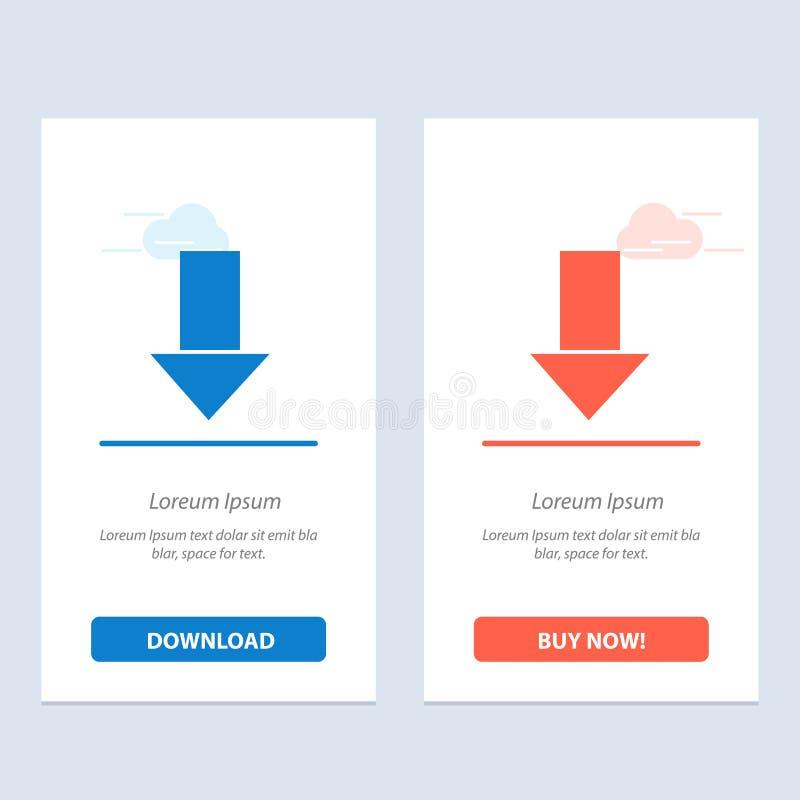 Pfeil unten hinunter Pfeil, Richtungs-Blau und rotes Download und Netz Widget-Karten-Schablone jetzt kaufen lizenzfreie abbildung