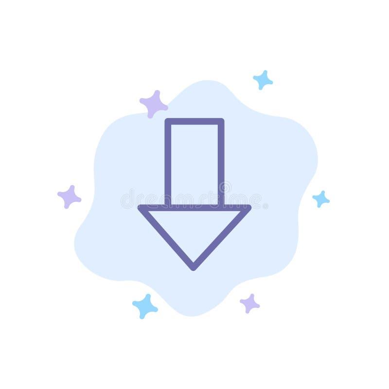 Pfeil unten hinunter Pfeil, Richtungs-blaue Ikone auf abstraktem Wolken-Hintergrund stock abbildung