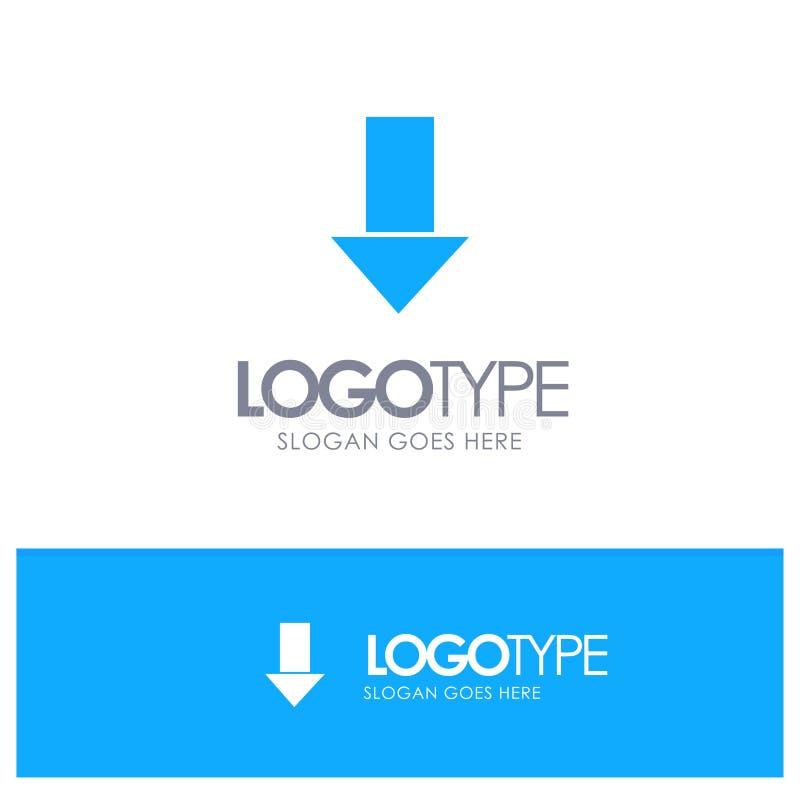 Pfeil unten hinunter Pfeil, Richtungs-blaues festes Logo mit Platz für Tagline vektor abbildung