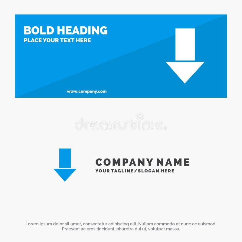 Pfeil unten hinunter Pfeil, Richtungs-feste Ikonen-Website-Fahne und Geschäft Logo Template vektor abbildung
