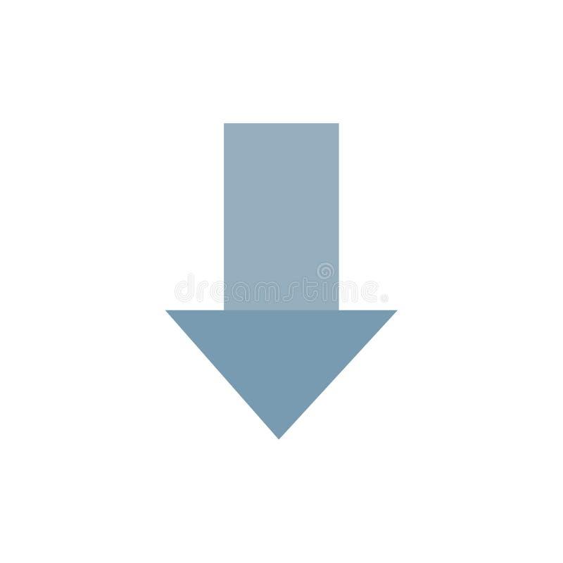 Pfeil unten hinunter Pfeil, Richtungs-flache Farbikone Vektorikonen-Fahne Schablone lizenzfreie abbildung