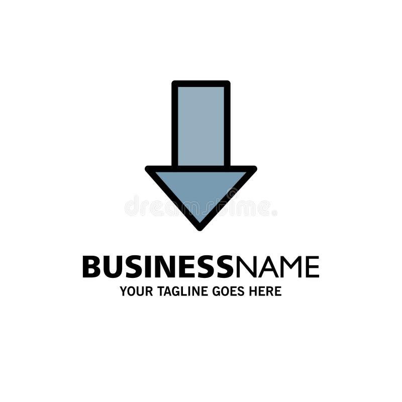 Pfeil unten hinunter Pfeil, Richtungs-Geschäft Logo Template flache Farbe vektor abbildung