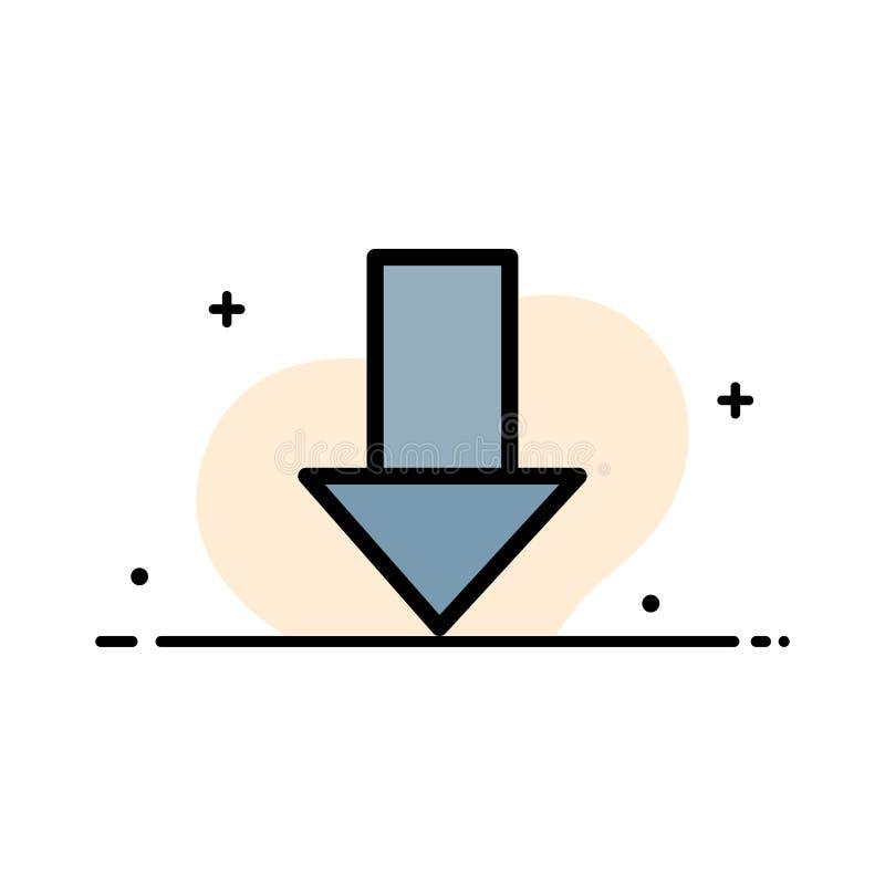 Pfeil unten hinunter Pfeil, Richtungs-Geschäfts-flache Linie füllte Ikonen-Vektor-Fahnen-Schablone stock abbildung