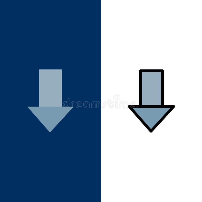 Pfeil unten hinunter Pfeil, Richtungs-Ikonen Ebene und Linie gefüllte Ikone stellten Vektor-blauen Hintergrund ein vektor abbildung